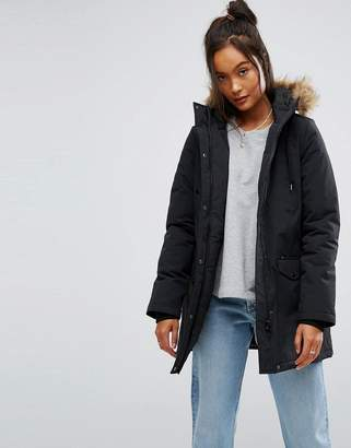 Vans Parka Coat With Fur Trimmed Hood