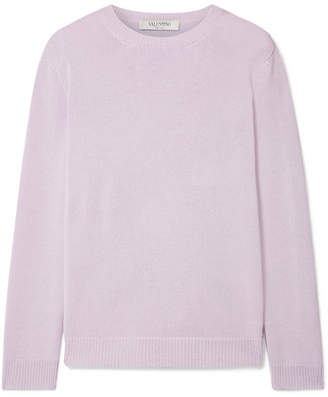 Valentino Tie-back Satin Crepe-trimmed Cashmere Sweater - Lilac