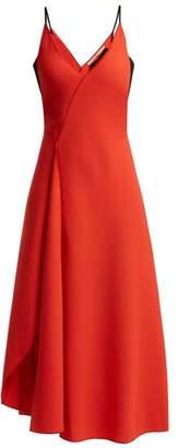 Roland Mouret Hooper Panelled Wool Crepe Midi Dress - Womens - Red