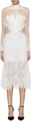 Jonathan Simkhai Mesh panel high neck Chantilly lace dress