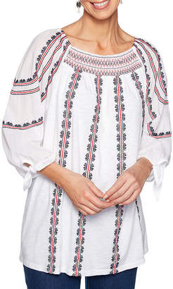 Lark Lane Tried And True Womens Round Neck 3/4 Sleeve Knit Embroidered Blouse