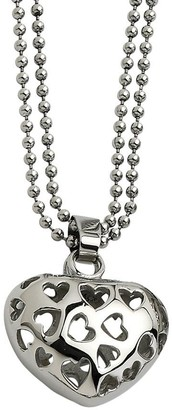 "Steel By Design Stainless Steel Puffed Heart Pendant with 23"" Beaded Chain"