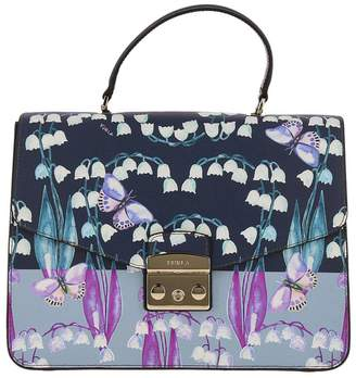 Furla Handbag Metropolis Bag M In Textured Leather With Butterfly Print