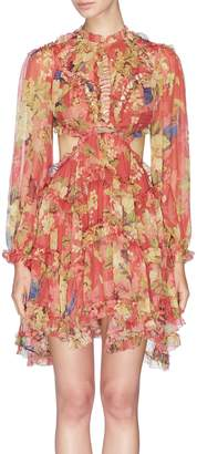 Zimmermann 'Melody' open back ruffle floral print silk dress