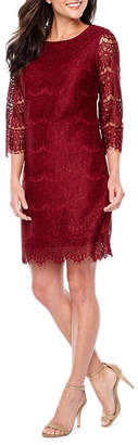 Ronni Nicole 3/4 Sleeve Lace Pattern Sheath Dress