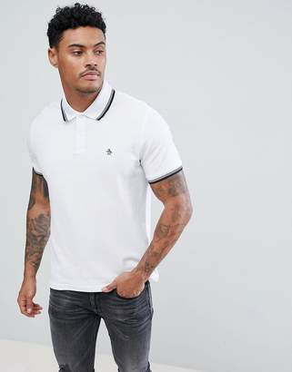 Original Penguin Pique Tipped Polo Slim Fit Small Logo Slim Fit in White