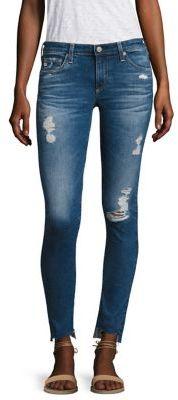 AG Distressed Step Hem Legging Ankle Jeans $225 thestylecure.com