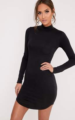 PrettyLittleThing Alby Black Curve Hem High Neck Dress