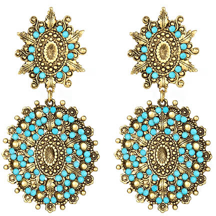 Yochi Turquoise and Gold Double Drop Earring