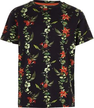River Island Boys green floral pique tape sleeve T-shirt