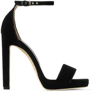 Jimmy Choo MISTY 120 Black Velvet Platform Sandals