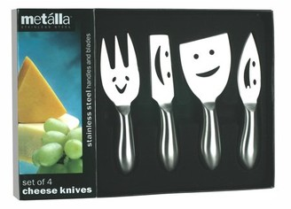 Prodyne Set of 4 Stainless Steel Cheese Knives, Happy Faces