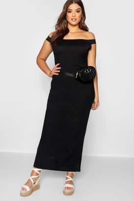 boohoo Plus Off The Shoulder Jersey Maxi Dress