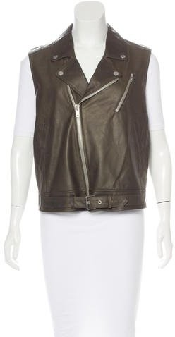 TheoryTheory Leather Zip-Front Vest