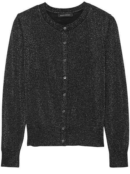 Washable Merino Wool Metallic Cardigan Sweater
