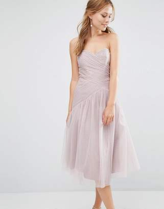 Little Mistress Bandeau Midi dress with Pleated Lace Detail