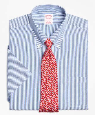 Brooks Brothers Madison Classic-Fit Dress Shirt, Non-Iron Dobby Candy Stripe Short-Sleeve