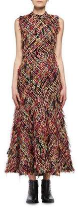 Alexander McQueen Wishing Tree Fringe Tweed Sleeveless Midi Dress, Multicolor
