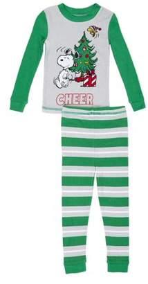 Peanuts Snoopy Christmas Graphic Long Sleeve Top & Pants Pajamas, 2pc Set (Toddler Boys)