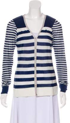 Lela Rose Stripe Long Sleeve Cardigan