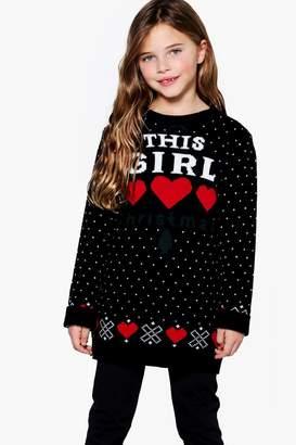 boohoo Girls This Girl Loves Christmas Knitted Dress
