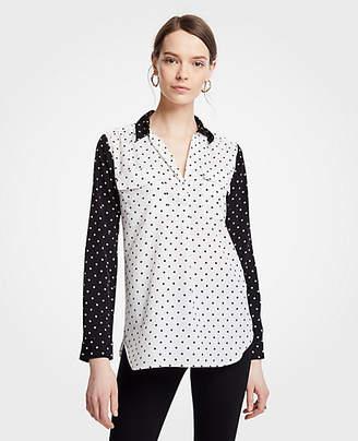 Ann Taylor Petite Polka Dot Camp Shirt