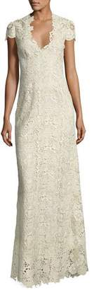 Elie Tahari Cap-Sleeve Metallic Lace Column Gown, White/Gold