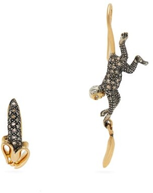 Bibi Van Der Velden - Monkey And Banana Diamond & 18kt Gold Earrings - Womens - Gold