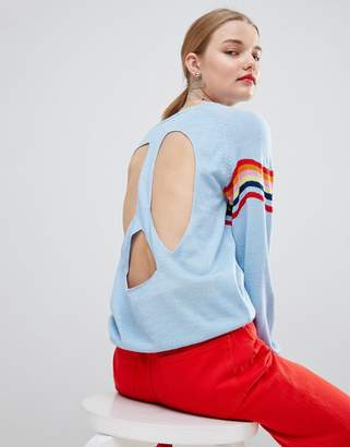 House of Holland Wavey Peace Cut Out Sweater
