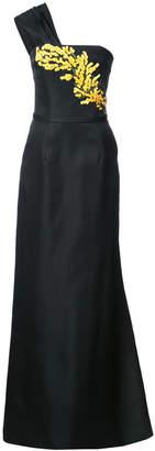 Carolina Herrera one shoulder embroidered gown
