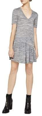 BCBGeneration Short-Sleeve Space-Dyed Ruffle Dress