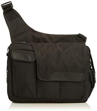 Diaper Dude Pinstripe Messenger II Bag (Black)