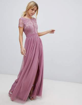 Little Mistress lace top maxi dress