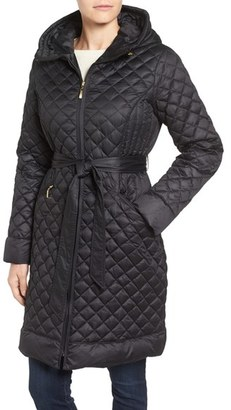 Women's Ellen Tracy Hooded Belted Down Coat $260 thestylecure.com