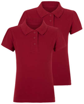 George Girls Red School Scallop Polo Shirt 2 Pack