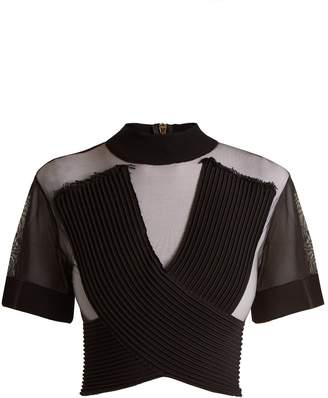 Balmain Sheer crossover-front tulle cropped top