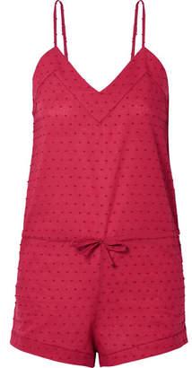 Three J NYC Rosie Swiss-dot Cotton Playsuit - Brick