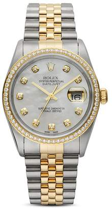 Mother of Pearl Pre-Owned Rolex Stainless Steel & 18K Yellow Gold Two-Tone Datejust Watch with Mother-of-Pearl Dial & Diamonds, 36mm