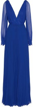 Victoria Beckham Pleated Silk-Chiffon Gown