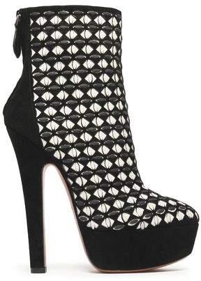 Alaia Embellished Laser-cut Suede Platform Ankle Boots