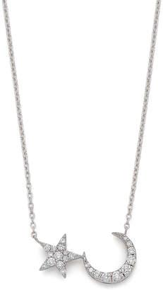 Gilt Sweet Jewelry Collection K18WG ダイヤモンド スター&ムーン ネックレス ホワイトゴールド