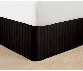 """Elegant Comfort Wrinkle Free - STRIPE Bed Skirt - Pleated Tailored 14"""" Drop - All Sizes and Colors , King, Black"""