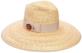 Gucci Gg Crystal Buckle Straw Hat