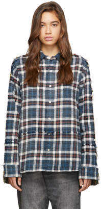 R 13 Blue and Green Mended Shirt