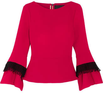Roland Mouret Silsden Fringed Wool-crepe Top - Red