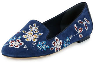 Tory Burch Embroidered Suede Smoking Slipper $295 thestylecure.com