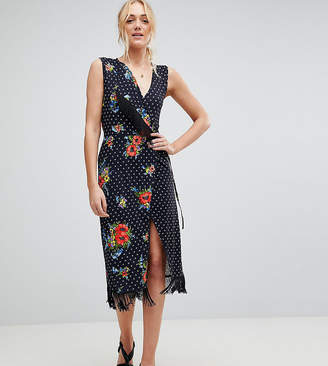 Asos Tall TALL Wrap Dress with Fringe in Mixed Floral