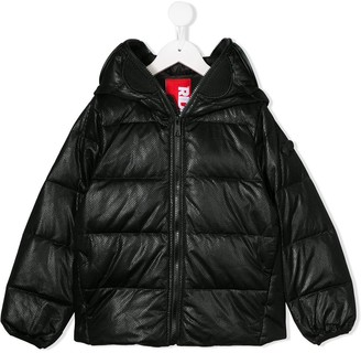 AI Riders On The Storm textured puffer jacket