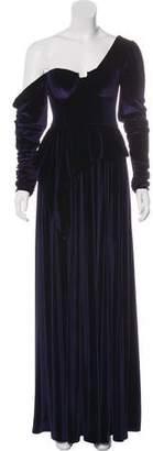 Self-Portrait Velvet One-Shoulder Dress