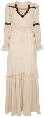 Celia Dragouni Gathered sleeve V-neck cotton dress